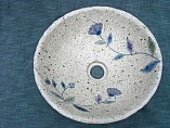 手洗器 陶器・手捻り彫り線花