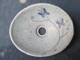 洗面ボール 手洗い器 陶器・手捻り彫り線 蝶
