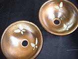 陶器 洗面ボール(蝶)火色